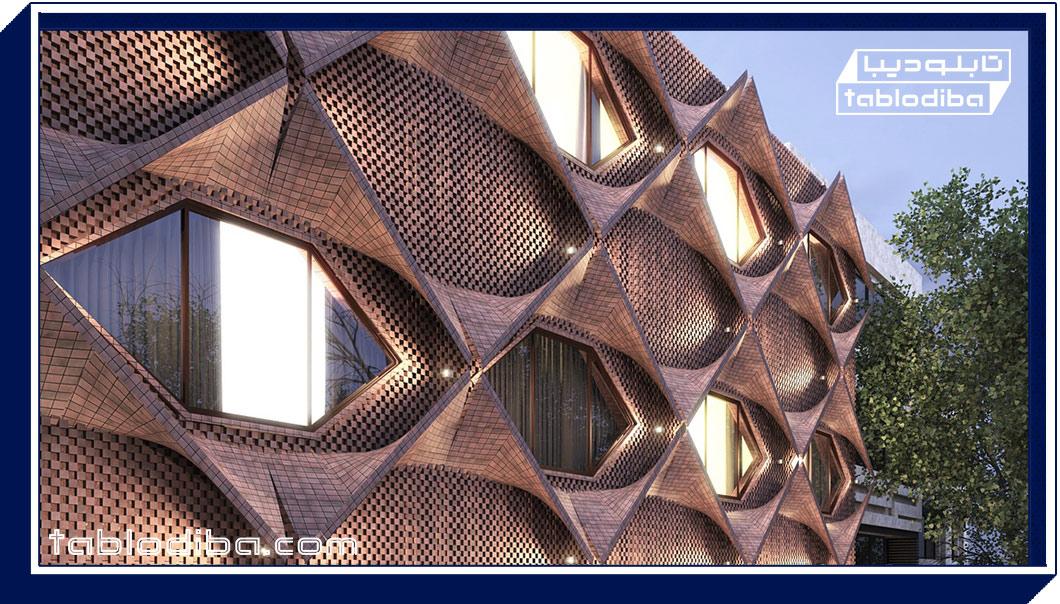 طراحی نمای خاص و ویژه تابلو مغازه جدید با نورپردازی خاص به روش ژئومتریک