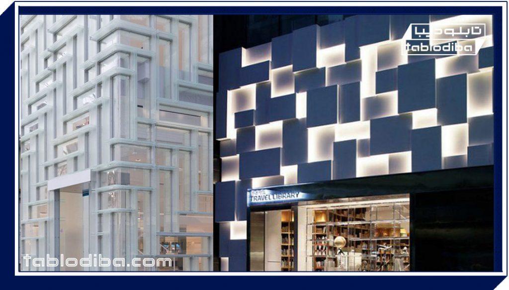 تابلو مغازه جدید با نورپردازی خاص به روش ژئومتریک